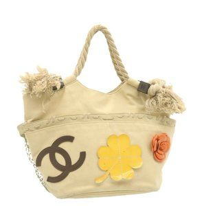 Auth Chanel Tote Bag Beige Canvas #18175C49B